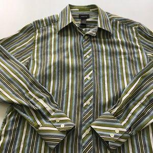 Claiborne Shirt Button Striped Dress L